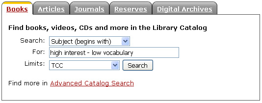 Library Catalog Searchbox