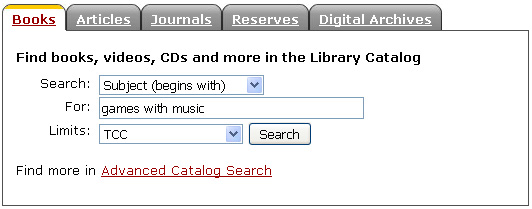 Library catalog search form.
