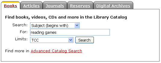 Library Catalog Search Form