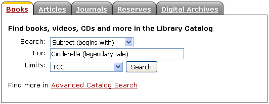 Catalog search box on home page