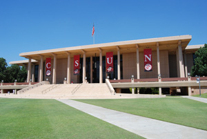 The Oviatt Library from the Front Lawn